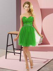 Green Zipper Sweetheart Beading Prom Dresses Tulle Sleeveless