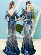 Half Sleeves Floor Length Sequins and Belt Zipper Evening Dress with Multi-color