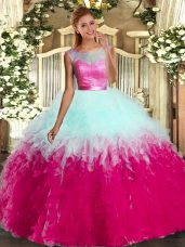 Fantastic Tulle Scoop Sleeveless Backless Beading and Ruffles Sweet 16 Dresses in Multi-color