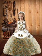 Multi-color Straps Lace Up Embroidery Pageant Dress Wholesale Sleeveless