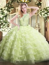 Ball Gowns Quince Ball Gowns Yellow Green Scoop Organza Sleeveless Floor Length Backless
