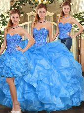 Baby Blue Sleeveless Beading and Ruffles Floor Length Quinceanera Gown