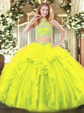 Cute Yellow Green Two Pieces Tulle High-neck Sleeveless Beading and Ruffles Floor Length Backless Quinceanera Gowns