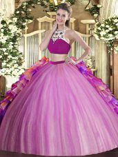 Lilac Two Pieces Beading and Ruffles Quinceanera Gowns Backless Tulle Sleeveless Floor Length