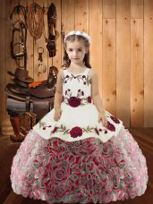 Superior Floor Length Multi-color Little Girl Pageant Dress Straps Sleeveless Lace Up