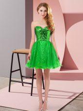 Glittering Green Zipper Sweetheart Sequins Prom Dress Tulle Sleeveless