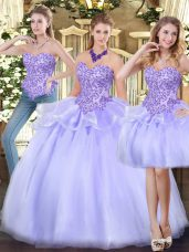 Low Price Lavender Sleeveless Organza Zipper Quinceanera Dress for Military Ball and Sweet 16 and Quinceanera