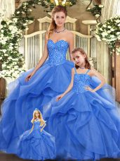 Graceful Blue Vestidos de Quinceanera Military Ball and Sweet 16 and Quinceanera with Beading and Ruffles Sweetheart Sleeveless Lace Up