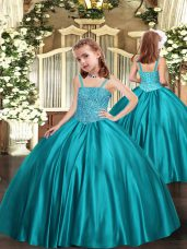 Teal Sleeveless Satin Zipper Little Girl Pageant Gowns for Party and Sweet 16 and Quinceanera and Wedding Party