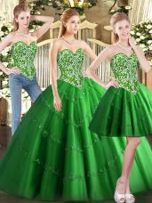 Admirable Green Lace Up Quinceanera Dresses Beading Sleeveless Floor Length