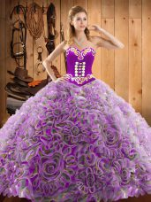 Multi-color Sleeveless Satin and Fabric With Rolling Flowers Sweep Train Lace Up 15th Birthday Dress for Military Ball and Sweet 16 and Quinceanera