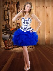 Best Sleeveless Mini Length Embroidery and Ruffles Lace Up Evening Dress with Royal Blue