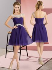 Free and Easy Purple Empire Chiffon Scoop Cap Sleeves Beading Mini Length Lace Up Evening Dress