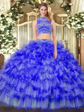 Blue Two Pieces High-neck Sleeveless Tulle Floor Length Backless Beading and Ruffled Layers Quinceanera Dress