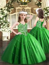 Floor Length Ball Gowns Sleeveless Green Pageant Dress for Girls Lace Up