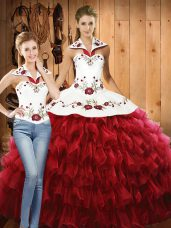 Fine Sleeveless Lace Up Floor Length Embroidery and Ruffled Layers Sweet 16 Dresses