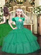 Nice Floor Length Turquoise Winning Pageant Gowns Organza Sleeveless Beading and Ruffled Layers