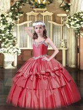 Coral Red Straps Neckline Beading and Ruffled Layers Pageant Gowns Sleeveless Lace Up