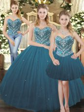 Hot Selling Teal Tulle Lace Up Sweetheart Sleeveless Floor Length Quince Ball Gowns Beading