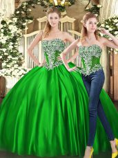 Low Price Sweetheart Sleeveless Quinceanera Dress Floor Length Beading and Ruffles Green Organza