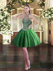 Glamorous Green Sleeveless Beading Mini Length Dress for Prom