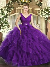 Fashion Purple V-neck Neckline Beading and Ruffles Vestidos de Quinceanera Sleeveless Backless