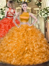 Dazzling Two Pieces 15 Quinceanera Dress Orange Red High-neck Tulle Sleeveless Floor Length Criss Cross