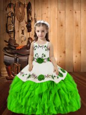 Latest Organza Lace Up Straps Sleeveless Floor Length Little Girl Pageant Dress Embroidery and Ruffles