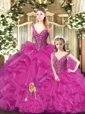 Sleeveless Tulle Floor Length Lace Up Ball Gown Prom Dress in Red with Beading and Ruffles