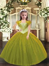 Tulle Straps Sleeveless Lace Up Beading Juniors Party Dress in Olive Green