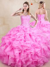 Discount Rose Pink Quinceanera Gowns Sweet 16 and Quinceanera with Beading and Ruffles Sweetheart Sleeveless Lace Up