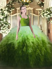 Multi-color Tulle Zipper Straps Sleeveless Floor Length 15th Birthday Dress Ruffles