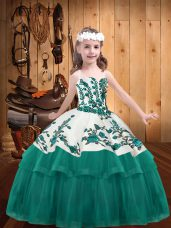 Turquoise Organza Lace Up Kids Pageant Dress Sleeveless Embroidery