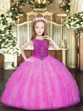 Gorgeous Rose Pink Sleeveless Beading and Ruffles Floor Length Child Pageant Dress