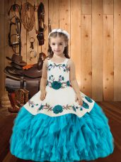 Latest Baby Blue Straps Neckline Embroidery and Ruffles Pageant Dress Toddler Sleeveless Lace Up