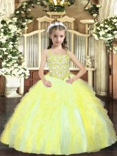 Yellow Green Sleeveless Tulle Lace Up Winning Pageant Gowns for Sweet 16 and Quinceanera