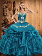 Teal Ball Gowns Embroidery and Ruffles 15th Birthday Dress Lace Up Organza Sleeveless Floor Length