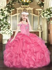 Sweet Hot Pink Ball Gowns Beading and Ruffles Little Girl Pageant Gowns Lace Up Organza Sleeveless Floor Length