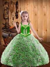 Ball Gowns Kids Formal Wear Multi-color Straps Fabric With Rolling Flowers Sleeveless Floor Length Lace Up