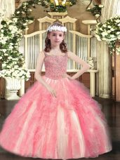 Watermelon Red Straps Lace Up Beading and Ruffles Pageant Dress for Teens Sleeveless
