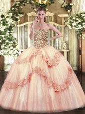 Graceful Floor Length Lace Up 15 Quinceanera Dress Baby Pink for Military Ball and Sweet 16 and Quinceanera with Beading and Appliques