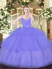 Ball Gowns Quince Ball Gowns Lavender Spaghetti Straps Organza Sleeveless Floor Length Zipper