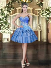 Pretty Mini Length Baby Blue Dress for Prom Sweetheart Sleeveless Lace Up