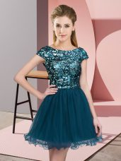 Designer Mini Length Zipper Damas Dress Teal for Prom and Party and Wedding Party with Sequins