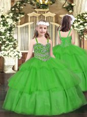 Green Ball Gowns Beading and Ruffled Layers Pageant Gowns For Girls Lace Up Organza Sleeveless Floor Length