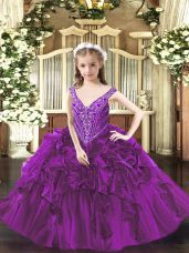 Purple Ball Gowns V-neck Sleeveless Organza Floor Length Lace Up Beading and Ruffles Pageant Gowns
