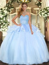 Sweetheart Sleeveless Lace Up Quinceanera Dress Light Blue Organza