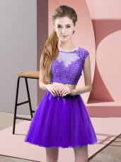 Smart Sleeveless Mini Length Appliques Zipper with Purple