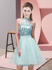 Dazzling Aqua Blue Chiffon Backless Halter Top Sleeveless Mini Length Wedding Party Dress Sequins