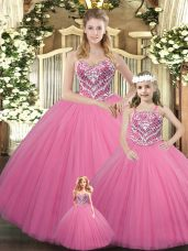Rose Pink Sweetheart Neckline Beading Ball Gown Prom Dress Sleeveless Lace Up